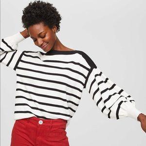LOFT Striped Blouson Sweater - black and white